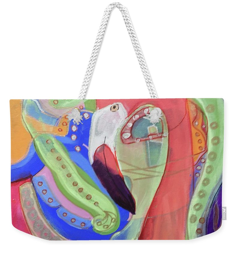 Pink Weekender Tote Bag featuring the painting Abstract Flamingo by Cherylene Henderson