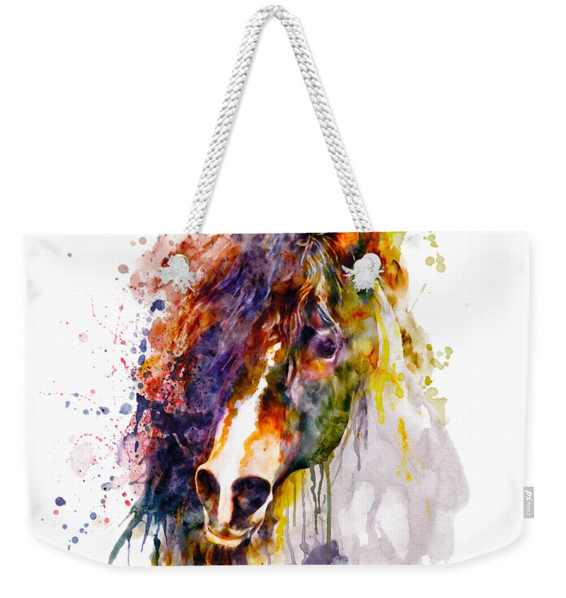 Abstract Weekender Tote Bag featuring the painting Abstract Horse Head by Marian Voicu