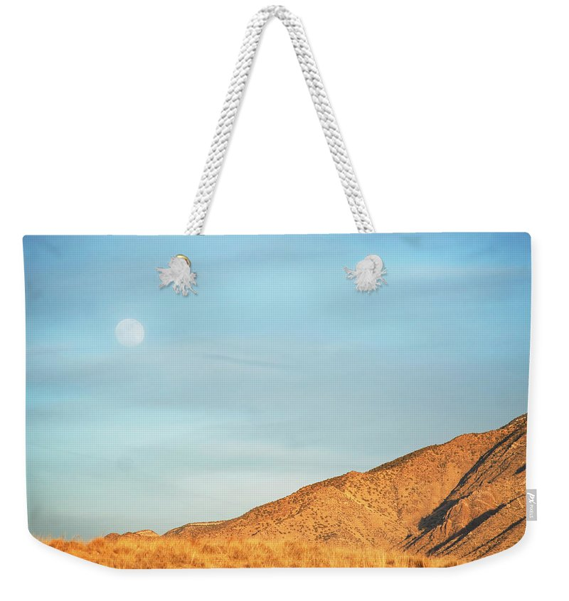 Scenics Weekender Tote Bag featuring the photograph Abstract Landscape Mountain Moon by Amygdala imagery