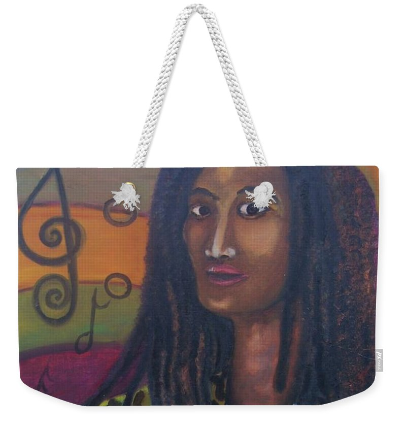 Weekender Tote Bag featuring the painting Abstract Music by Andrew Johnson