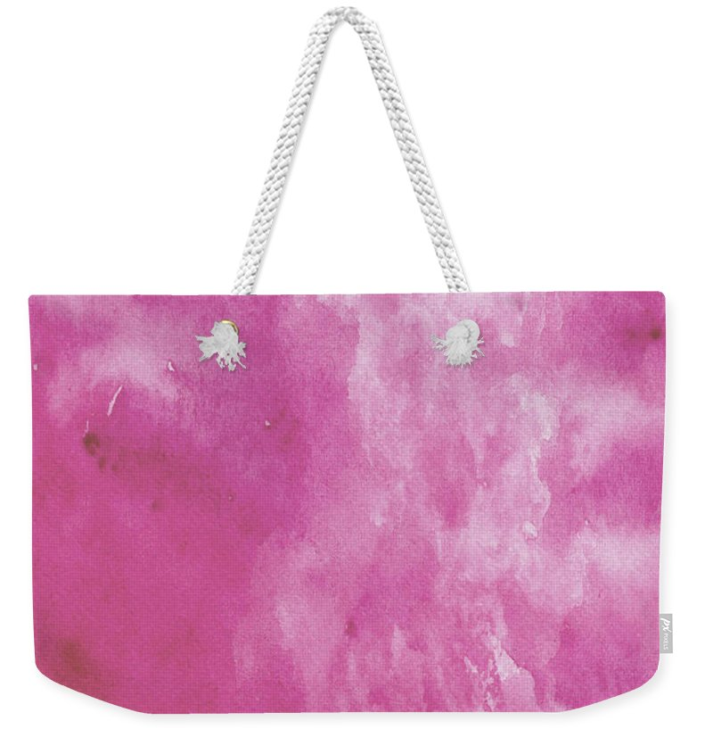 Landscape Weekender Tote Bag featuring the painting Abstract Pink Watercolor by Naxart Studio
