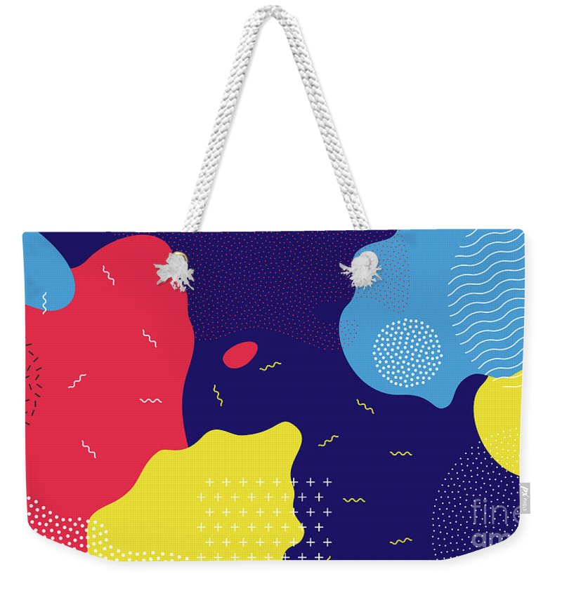 Curve Weekender Tote Bag featuring the digital art Abstract Pop Art Line And Dots Color by Chaluk