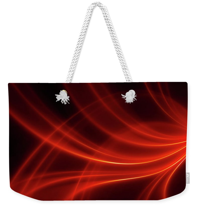 Three Dimensional Weekender Tote Bag featuring the photograph Abstract Red Dynamic Lines Backgrounds by Hh5800