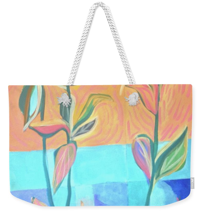 Abstract Weekender Tote Bag featuring the painting Abstract With Leaves by Cherylene Henderson