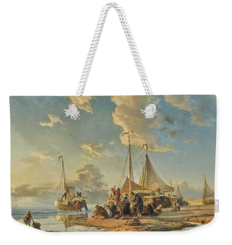 Commercial Weekender Tote Bag featuring the painting Achenbach, Andreas Dutch Fishermen After The Catch by Celestial Images