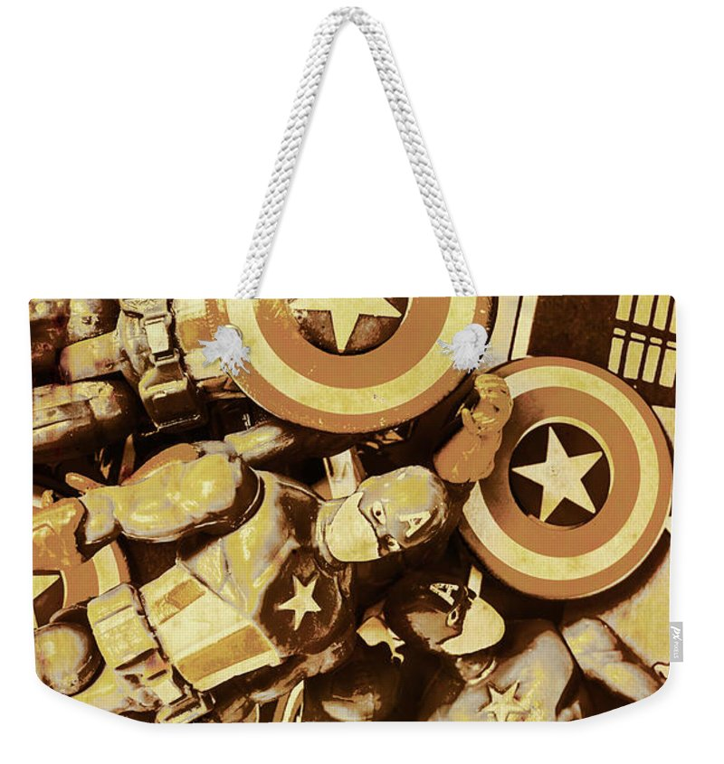 Toy Weekender Tote Bag featuring the photograph Action Figure Comic Strip by Jorgo Photography - Wall Art Gallery