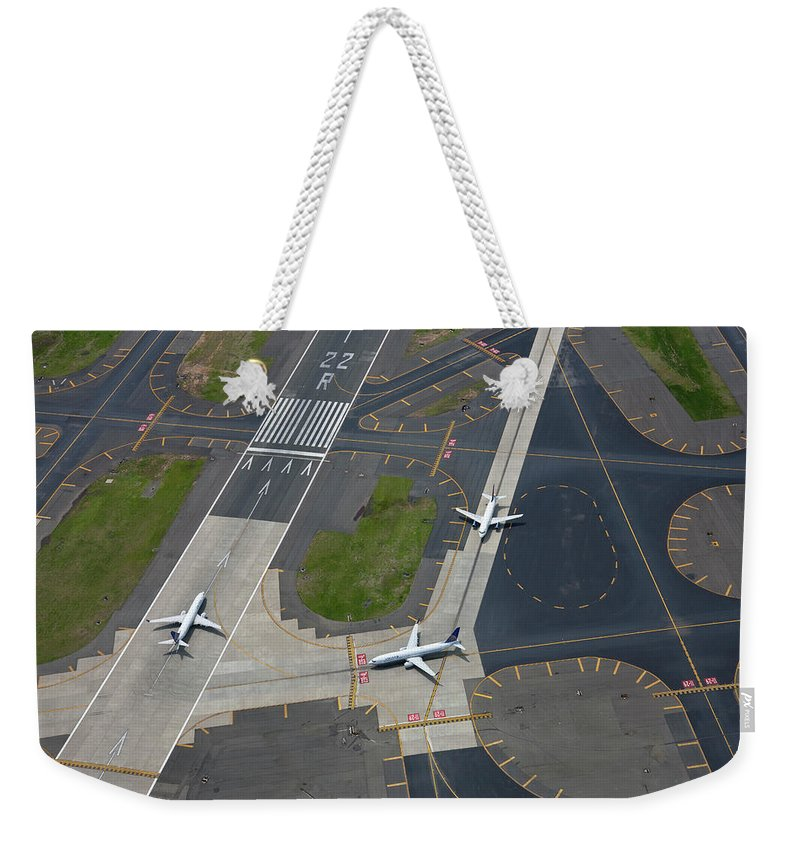 Outdoors Weekender Tote Bag featuring the photograph Aerial View Of Newark International by Peter Adams