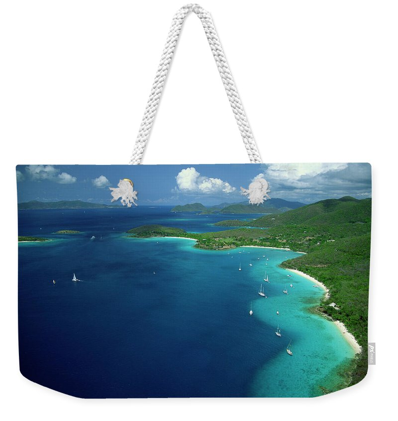 Sailboat Weekender Tote Bag featuring the photograph Aerial View Of Shoreline by Don Hebert