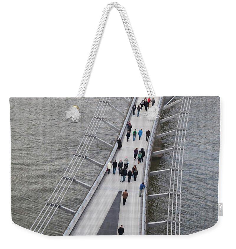 London Millennium Footbridge Weekender Tote Bag featuring the photograph Aerial View Of The Millennium Bridge by Future Light