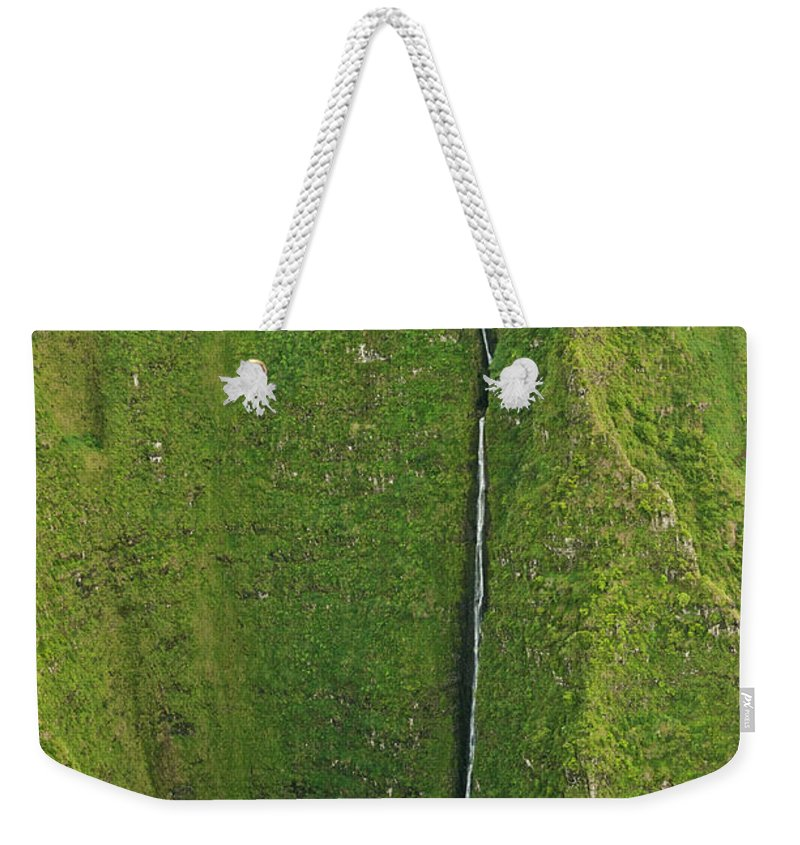 Scenics Weekender Tote Bag featuring the photograph Aerial View Of Waterfall In Narrow by Enrique R. Aguirre Aves