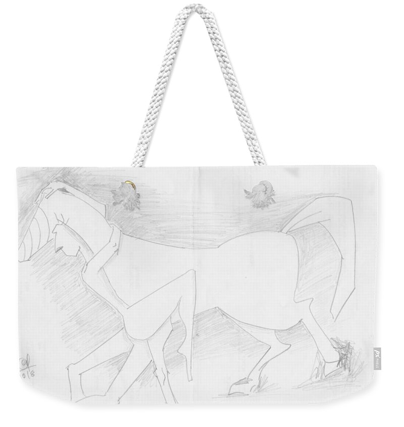 Pencil Work On Paper Weekender Tote Bag featuring the drawing Affection by Mustafa Attari