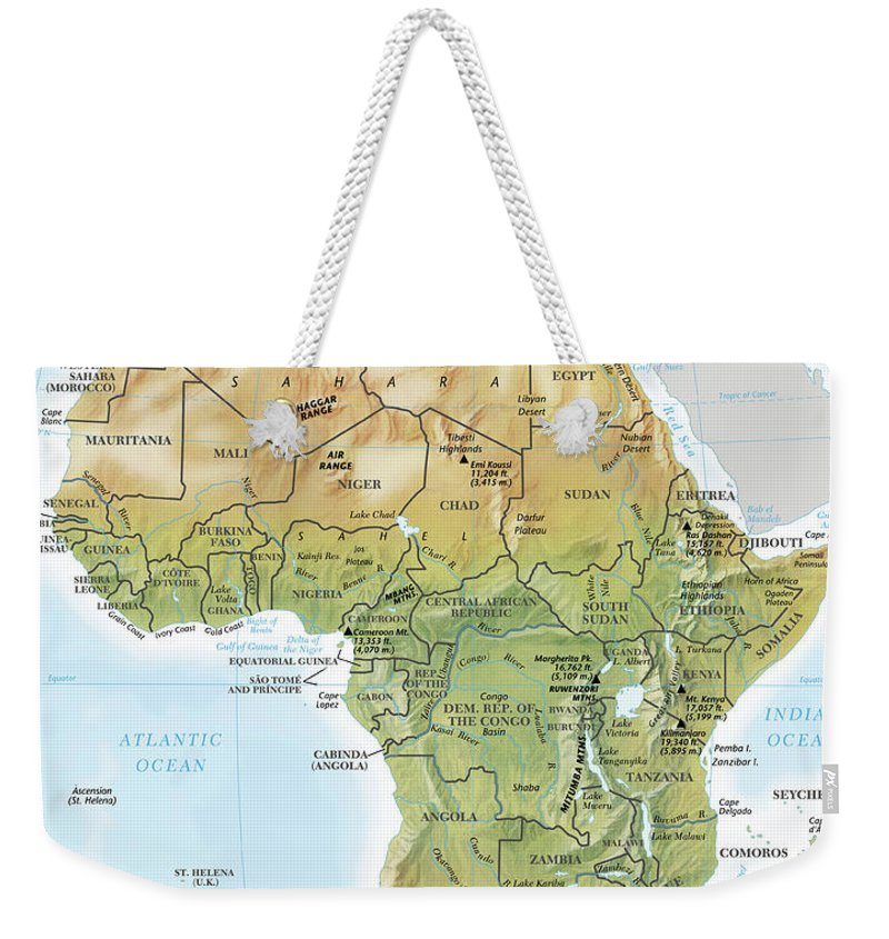 Topography Weekender Tote Bag featuring the digital art Africa Continent Map With Relief by Globe Turner, Llc