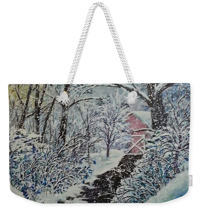 Landscape Weekender Tote Bag featuring the painting After Math by Ken Farnsworth
