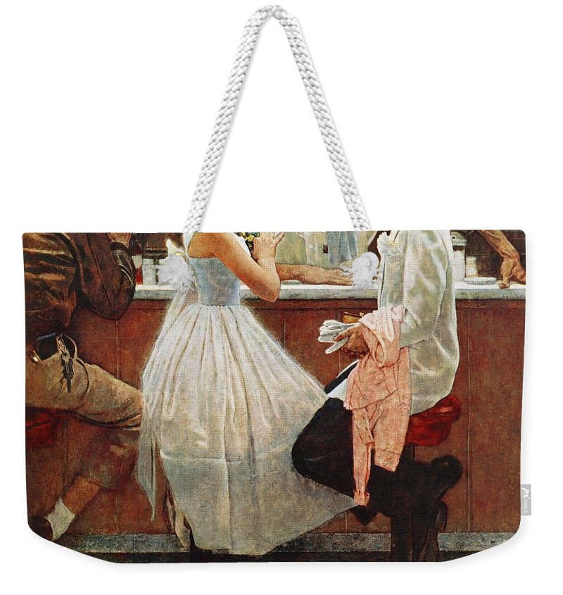 Corsage Weekender Tote Bag featuring the drawing After The Prom by Norman Rockwell