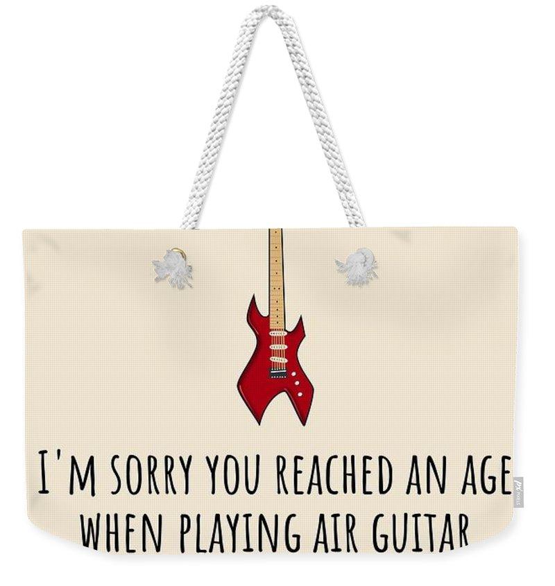 Weekender Tote Bag featuring the digital art Air Guitar Birthday Card - Sarcasm Birthday Card - Guitar Player Card - Guitarist Greeting Card - Gr by Joey Lott