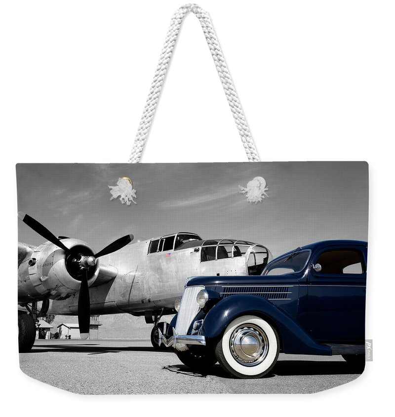 Propeller Weekender Tote Bag featuring the photograph Airplanes And Cars by Sierrarat