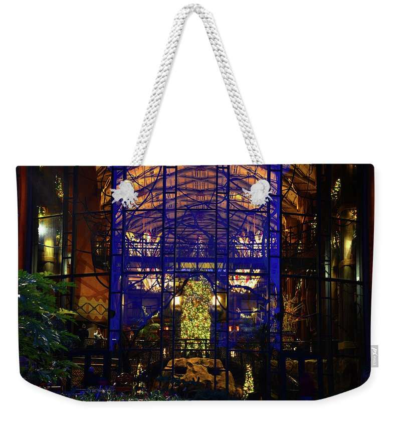 Interior Weekender Tote Bag featuring the photograph Ak Lodge Interior Christmas Tree by David Lee Thompson