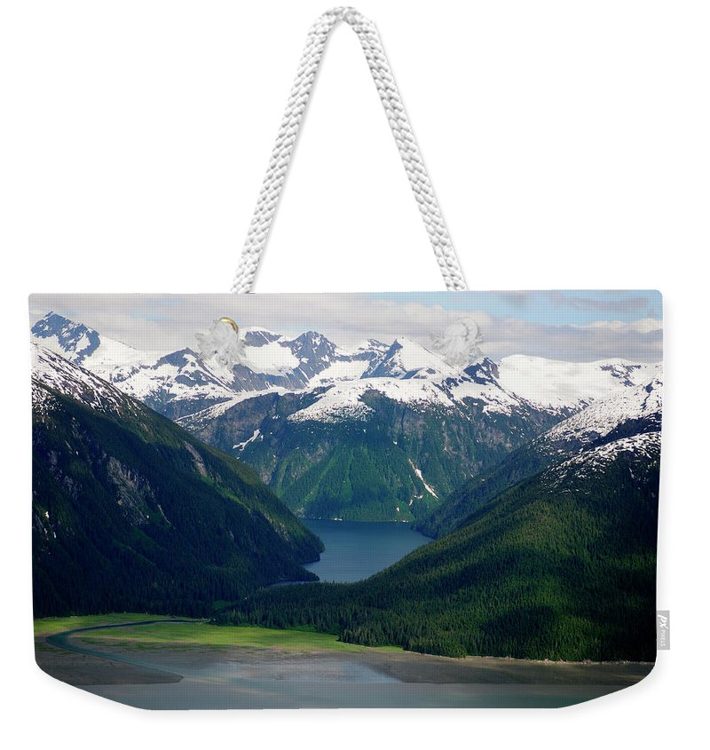 Extreme Terrain Weekender Tote Bag featuring the photograph Alaska From The Air by Groveb