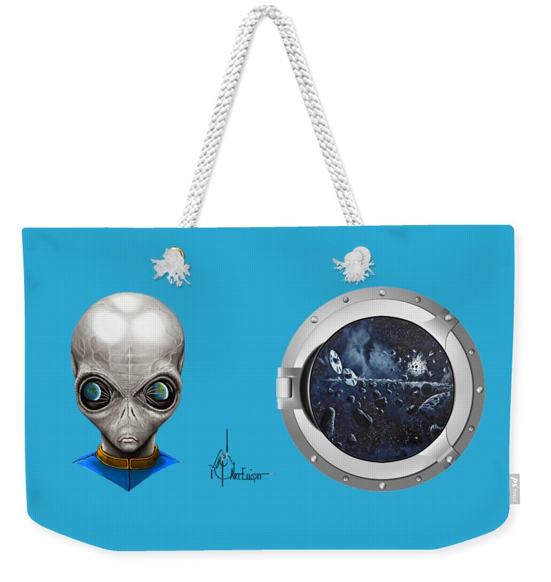 Aliens Weekender Tote Bag featuring the drawing Aliens From Space by Murphy Elliott