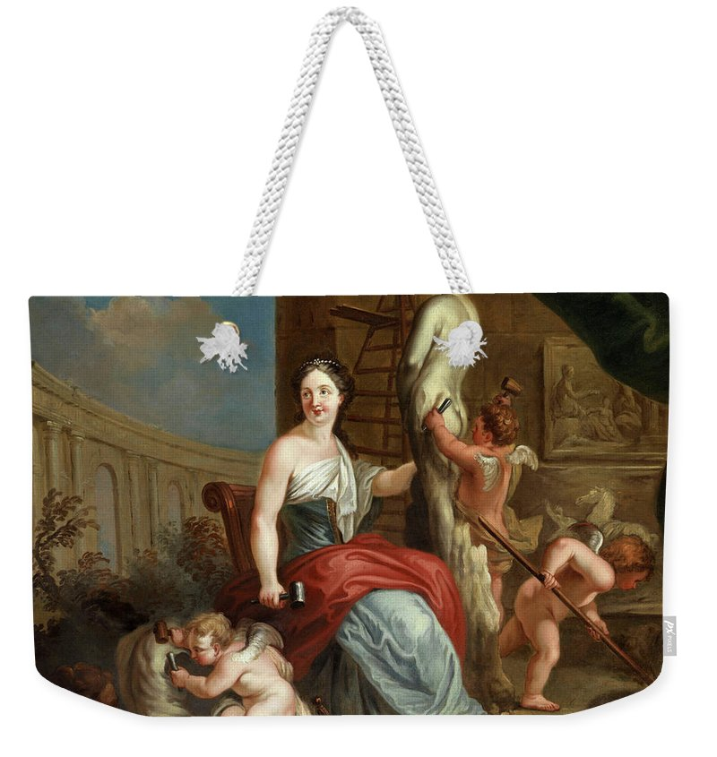 Louis Gabriel Blanchet Weekender Tote Bag featuring the painting Allegory Of Sculpture And Architecture by Louis Gabriel Blanchet