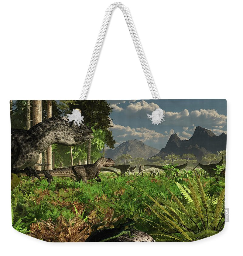 Toughness Weekender Tote Bag featuring the digital art Allosaurus And Diplodocus Dinosaurs by Arthur Dorety/stocktrek Images