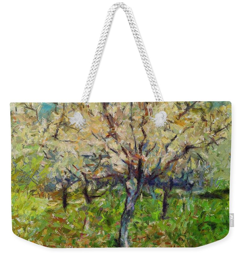 Spring Weekender Tote Bag featuring the painting Almond Orchard by Dragica Micki Fortuna
