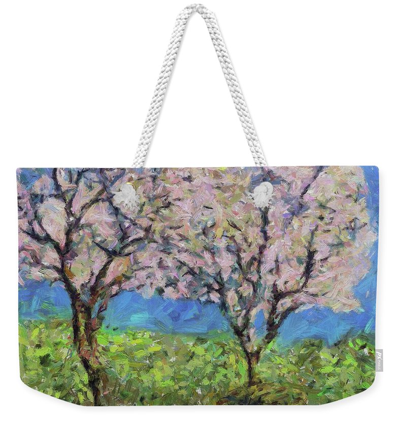 Nature Weekender Tote Bag featuring the painting Almonds In Full Bloom by Dragica Micki Fortuna