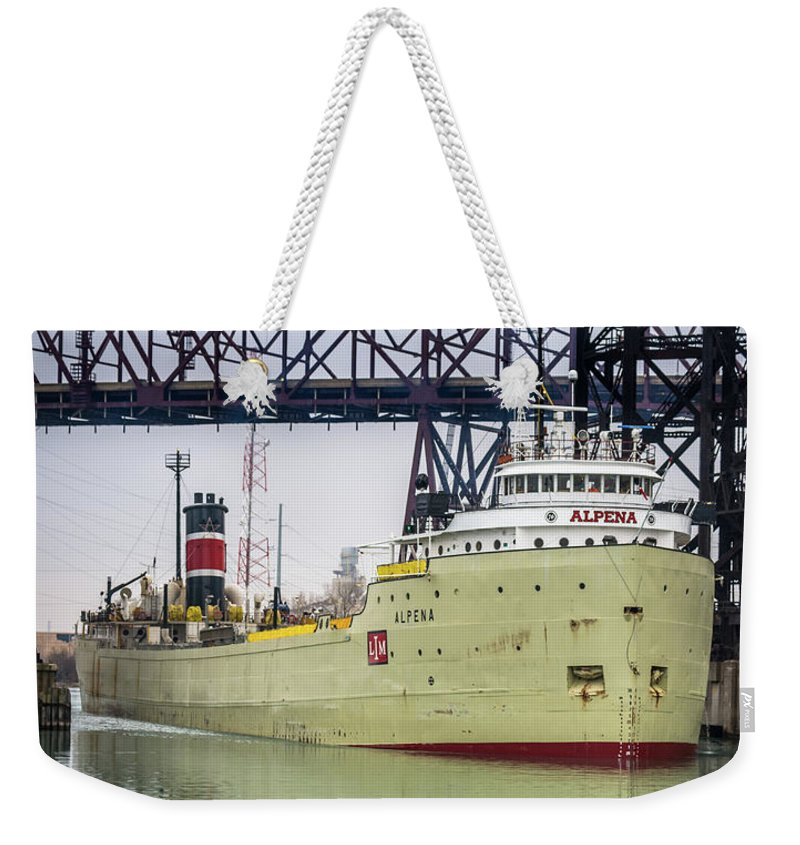 2018 Weekender Tote Bag featuring the photograph Alpena Under The Ns5 Rr Bridge by Christine Douglas