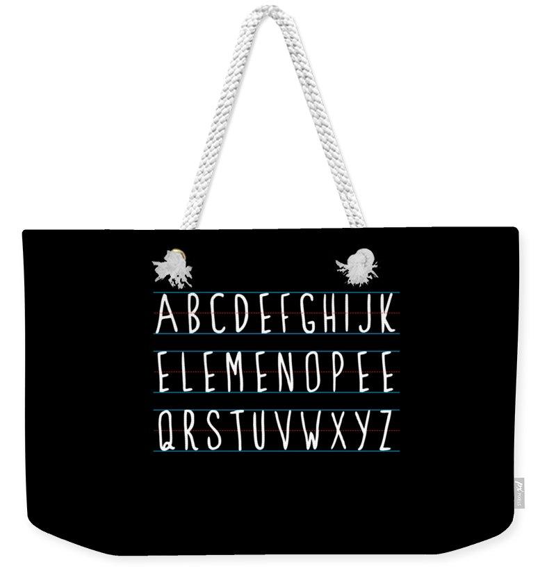 Cool Weekender Tote Bag featuring the digital art Alphabet Elemeno by Flippin Sweet Gear