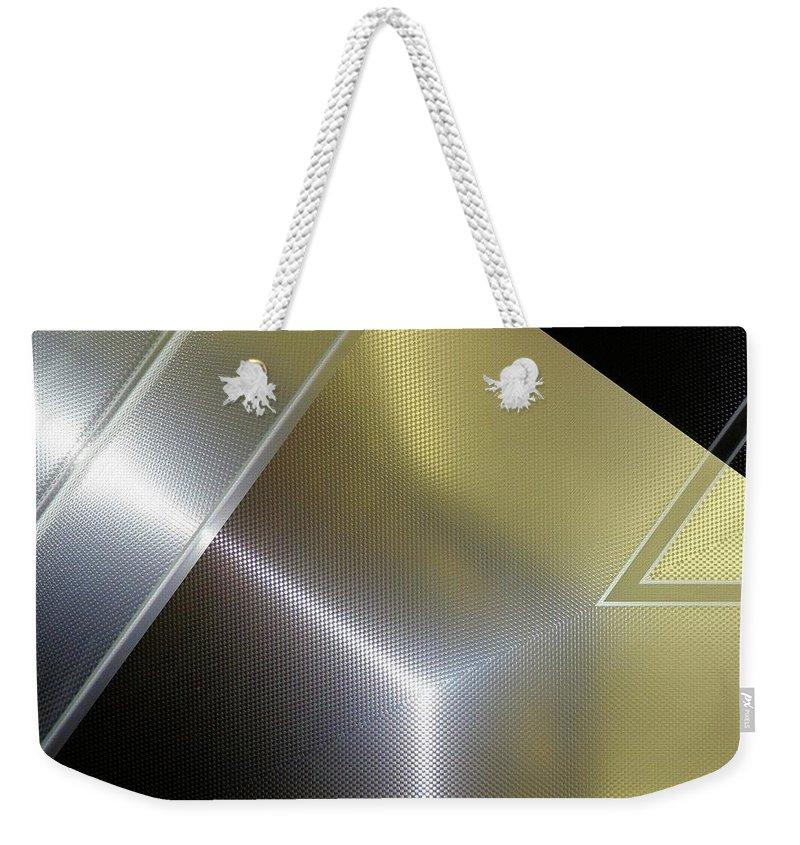 Fashion Weekender Tote Bag featuring the digital art Aluminum Surface. Metallic Geometric Image.  by Rudy Bagozzi