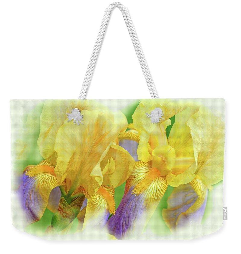 Iris Flowers Weekender Tote Bag featuring the photograph Amenti Yellow Iris Flowers by Regina Geoghan