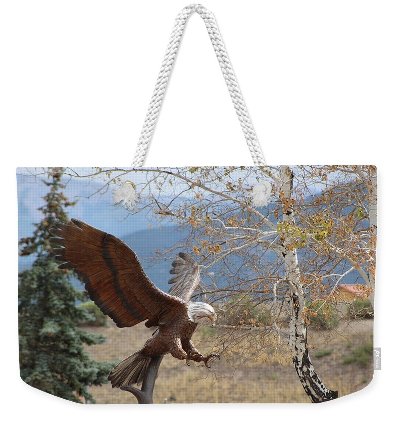 Eagle Weekender Tote Bag featuring the photograph American Eagle in Autumn by Colleen Cornelius