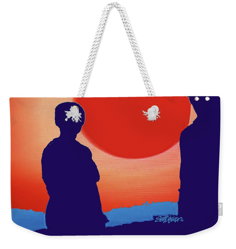 American Gothic-2018 Weekender Tote Bag featuring the mixed media American Gothic-2018 by Seth Weaver