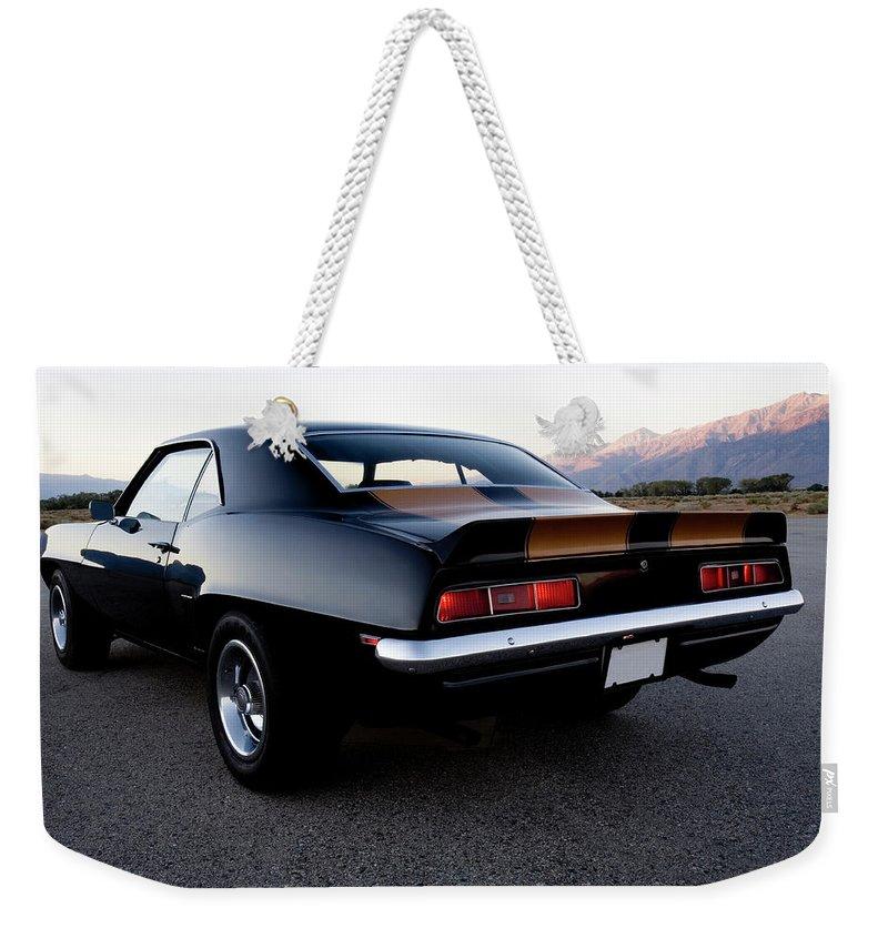 Drag Racing Weekender Tote Bag featuring the photograph American Muscle Car by Sierrarat