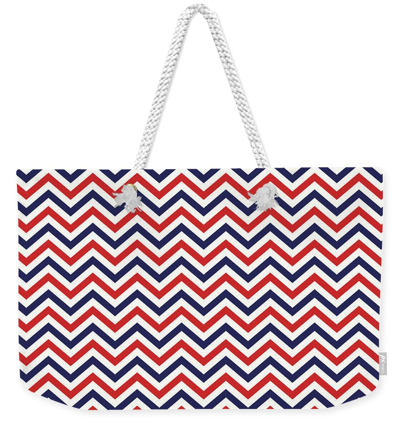 Chevron Weekender Tote Bag featuring the mixed media American National Colors Red White Blue Zigzag Seamless Pattern by Mohamed Rasik