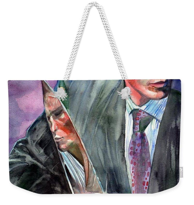 American Psycho Weekender Tote Bag featuring the painting American Psycho Painting by Suzann Sines