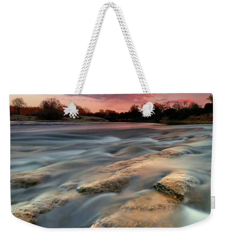 Scenics Weekender Tote Bag featuring the photograph American River Parkway At Sunset by David Kiene