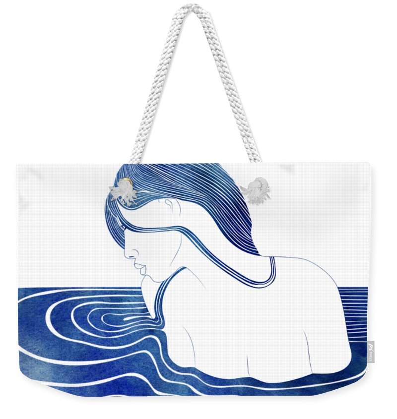 Aqua Weekender Tote Bag featuring the mixed media Amphinome by Stevyn Llewellyn