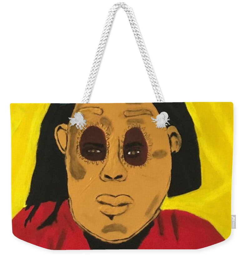 African Weekender Tote Bag featuring the painting Ancestral Spirit by Sonye Locksmith
