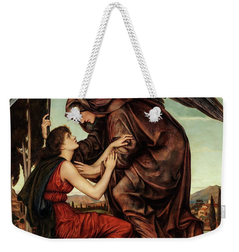 Evelyn De Morgan Weekender Tote Bag featuring the painting Angel Of Death, 1880 by Evelyn De Morgan