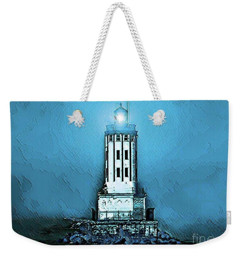 Angels Gate Lighthouse Weekender Tote Bag featuring the digital art Angels Gate Lighthouse /textured by Joe Lach