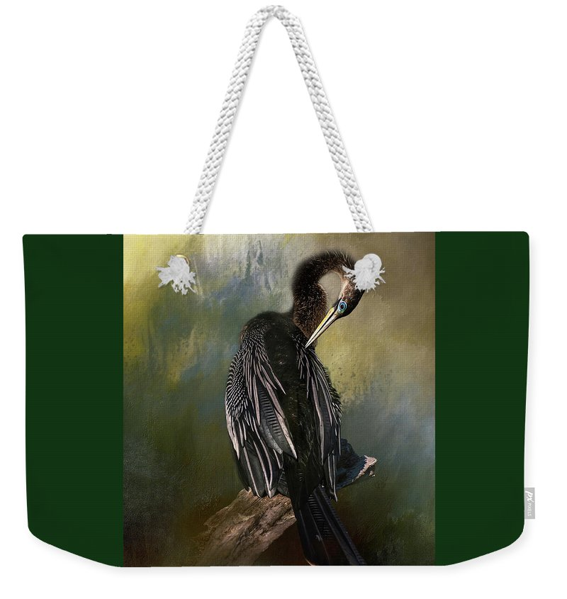 Feathers Weekender Tote Bag featuring the mixed media Anhinga Beauty by Marvin Spates