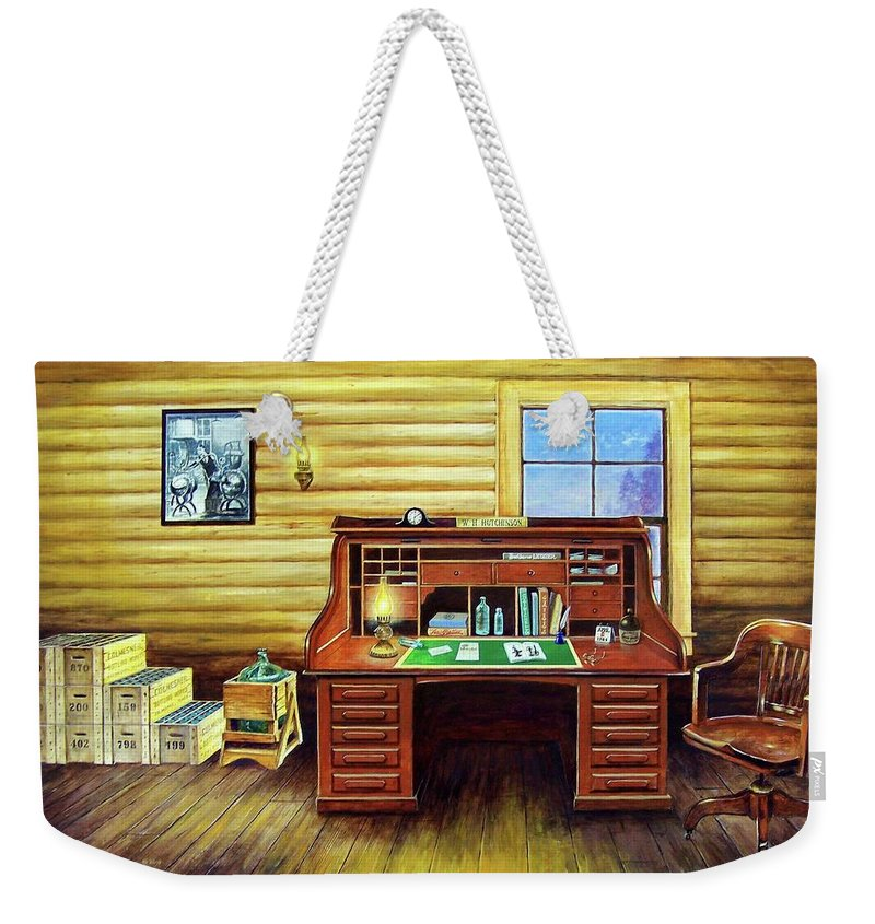 Roll Top Desk Weekender Tote Bag featuring the painting Another Day In The Books by Randy Welborn