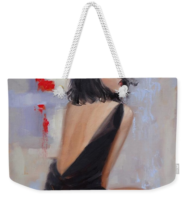 Beautiful Woman Weekender Tote Bag featuring the painting Anticipation by Laura Lee Zanghetti