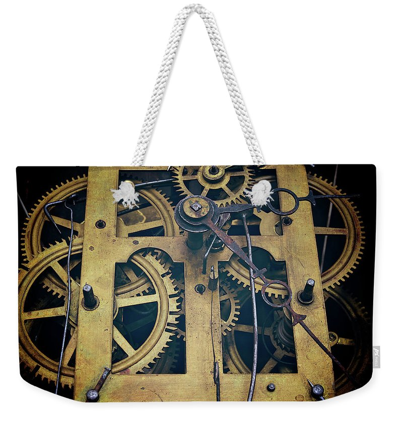 Gear Weekender Tote Bag featuring the photograph Antique Clock Gears, Cog And Parts by Melissa Ross