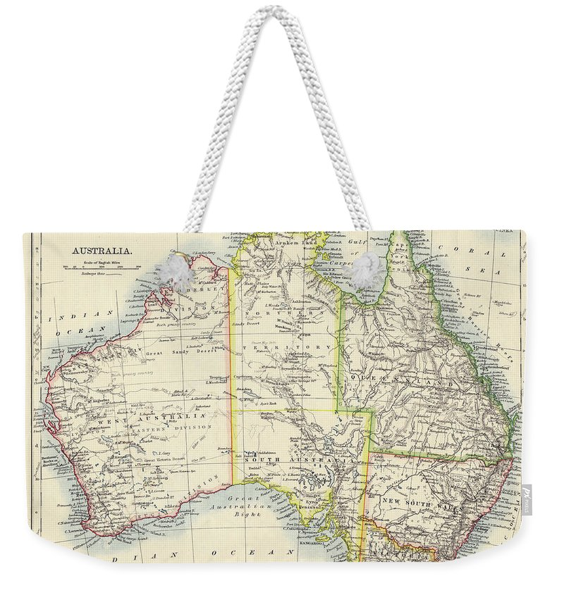 19th Century Style Weekender Tote Bag featuring the photograph Antique Map Of Australia by Nicholas Free