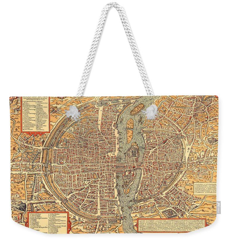 Antique Map Of The City, Quotes, University Of Paris - Old Cartographic on