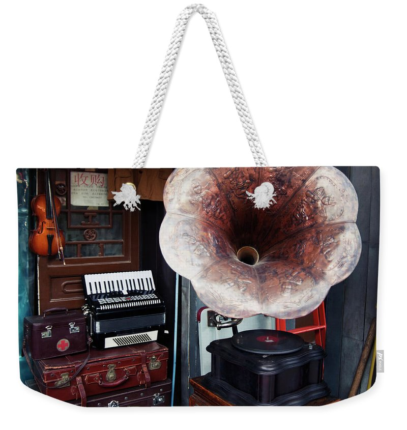Flea Market Weekender Tote Bag featuring the photograph Antique Victrola In Panjiayuan Flea by Design Pics / Keith Levit
