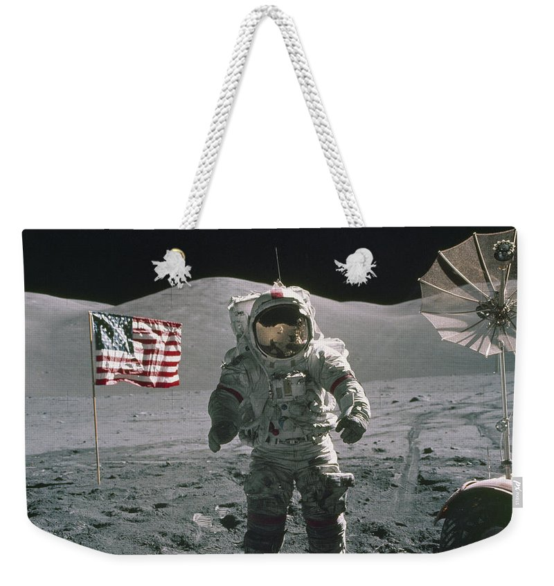 American Flag Weekender Tote Bag featuring the painting Apollo 17 by Cosmic Photo