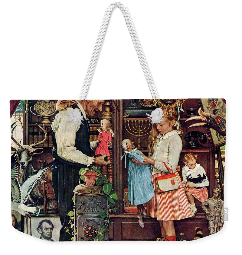 Antiques Weekender Tote Bag featuring the drawing April Fool, 1948 by Norman Rockwell